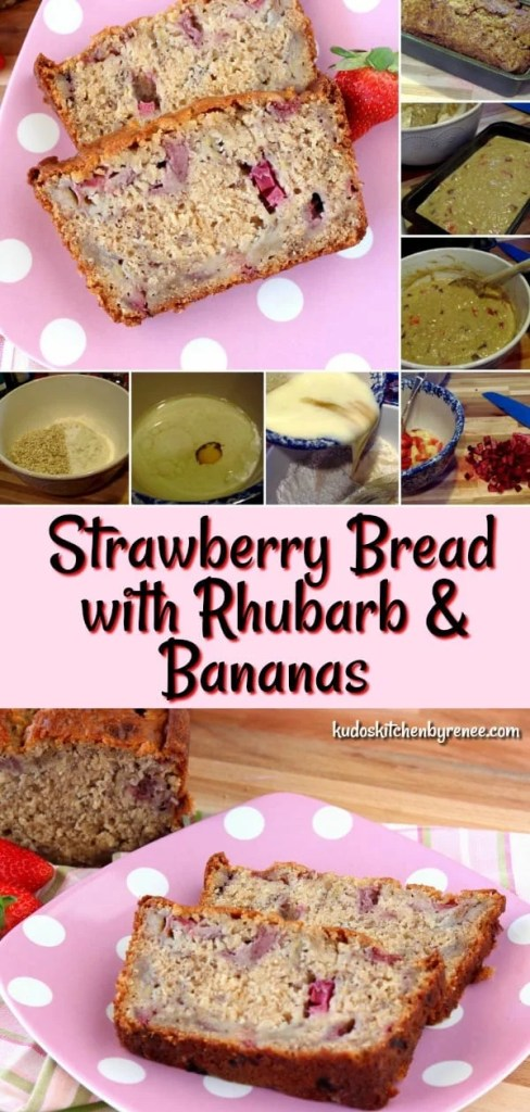 When strawberries and rhubarb are in season, this Super Easy Strawberry Bread with Rhubarb & Bananashould be one of the first things you add to your baking list. - kudoskitchenbyrenee.com