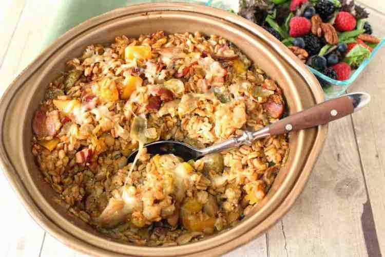 Baked Farro Casserole with Butternut Squash, Bacon & Brussels Sprouts - kudoskitchenbyrenee.com
