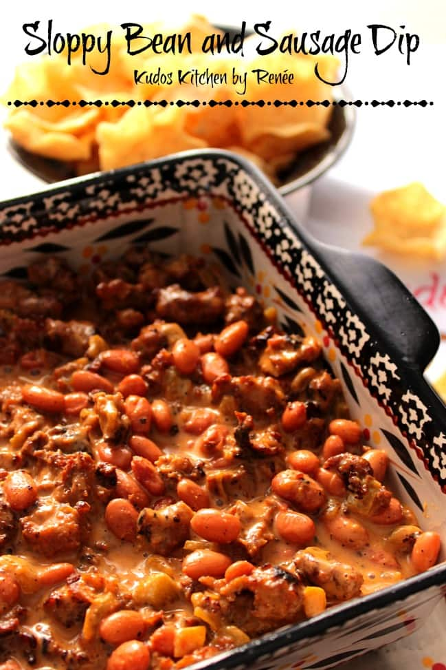 Sloppy Sausage Bean Dip Recipe - www.kudoskitchenbyrenee.com