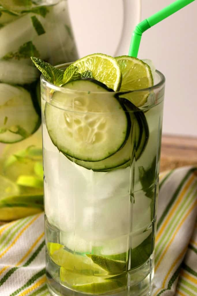 Rehydrate your body with this delicious Cucumber, Lime, and Mint Fitness Water.