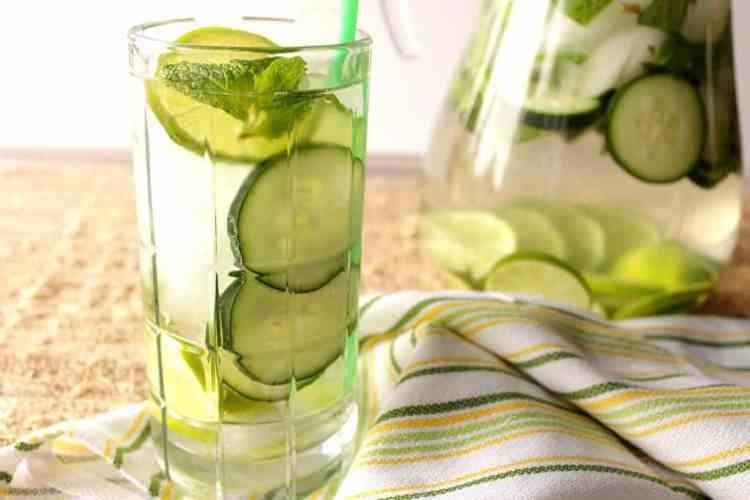Refreshing spa water of cucumber, lime, and mint does a body good.