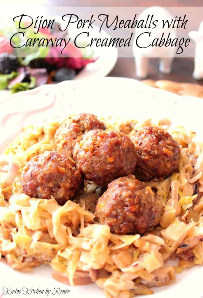 Pork meatballs with creamed cabbage.