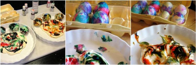How to make tie dyed Easter eggs with Mayonnaise.