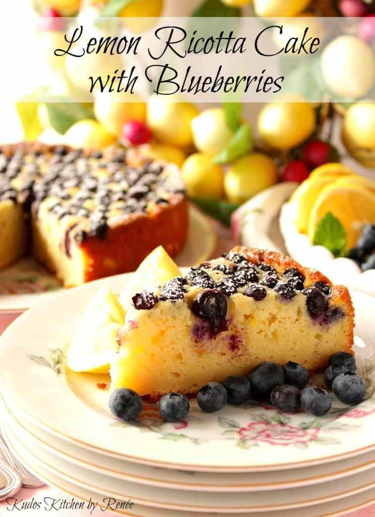 Lemon Ricotta Cake with Fresh Blueberries - Kudos Kitchen by Renee