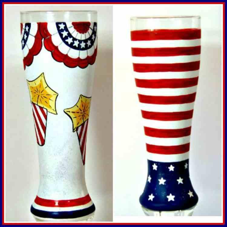 Hand Painted Patriotic Pilsner Glasses