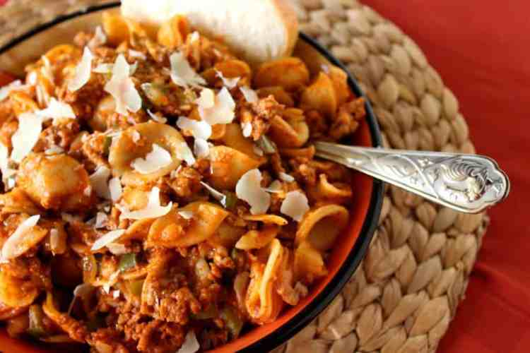 Orecchiette Pasta with Meat Sauce