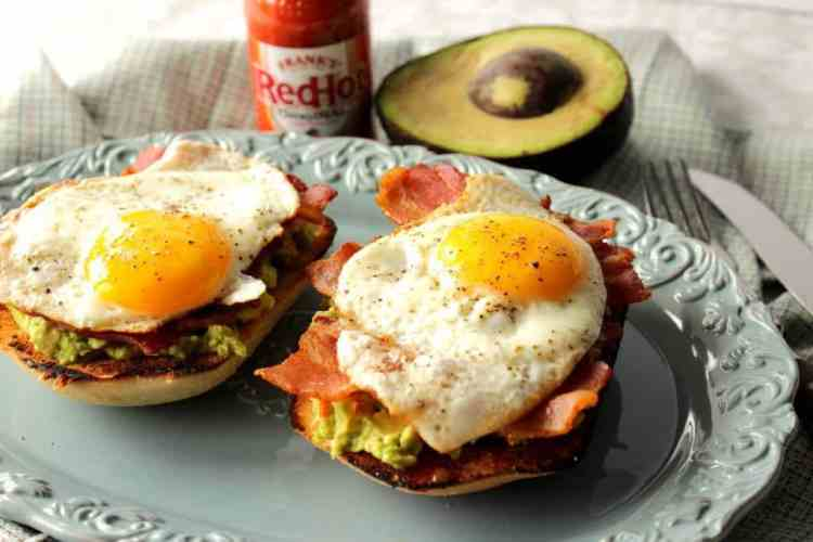 Avocado Toast Breakfast Sandwich with Bacon and Egg