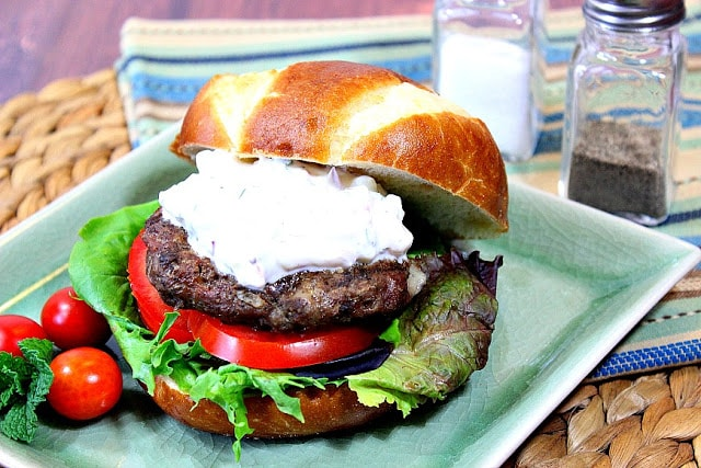 Lamb and Feta Burgers with Tzatziki Sauce - Kudos Kitchen by Renee