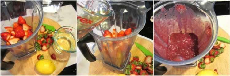 Blending berries for Mixed Berry Sorbet