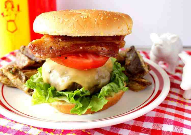 Pork Belly Burger with lettuce and tomato