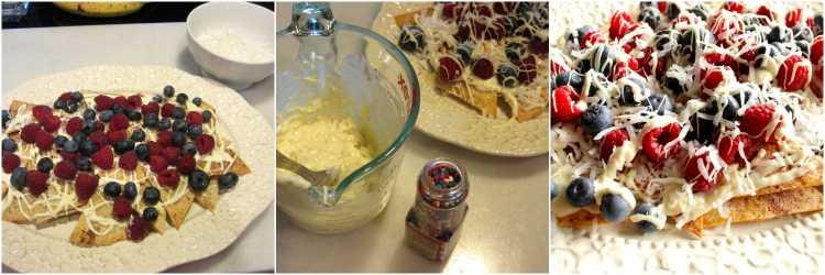 Homemade Dessert Nachos with Raspberries and Blueberries