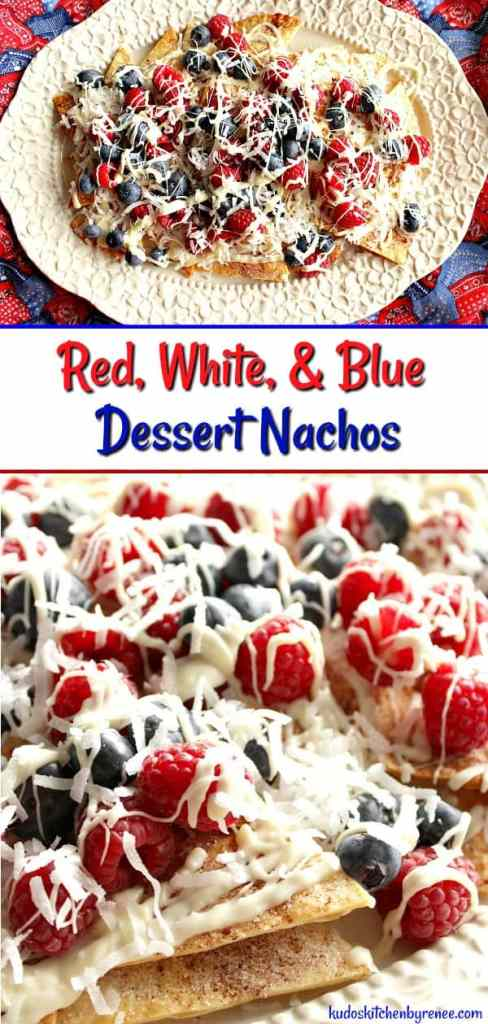 Red, White, and Blue Dessert Nachos are a patriotic sweet treat your family and friends will devour. Homemade cinnamon sugar tortilla chips are generously toppedwith red and blue seasonal berries along with a white chocolate drizzle and sweetened coconut. - kudoskitchenbyrenee.com