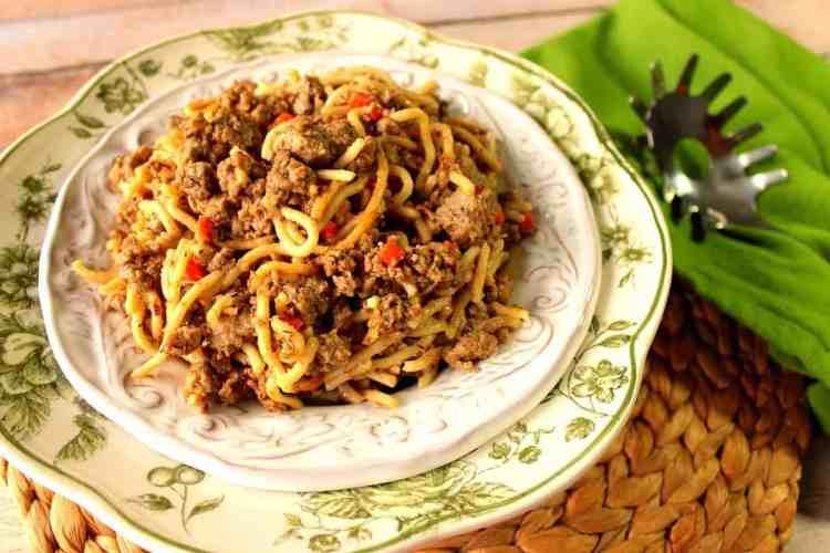 Turkey Meat Sauce over Spaghetti