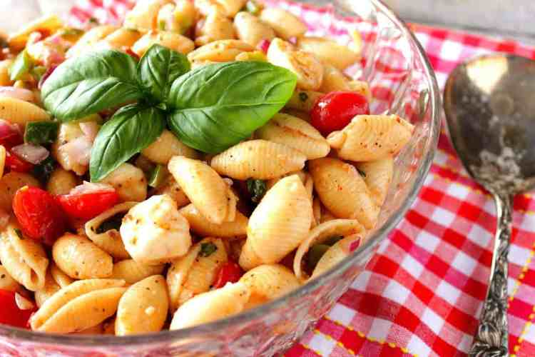 Italian Shell Pasta Salad with Basil and Mozzarella