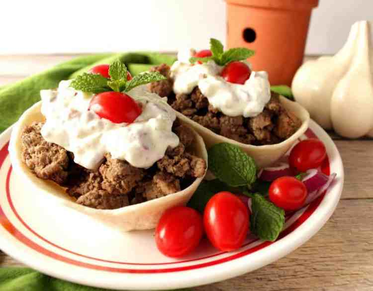Ground lamb in flour tortilla boats