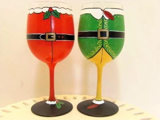 Santa and Elf Hand Painted Wine Glasses