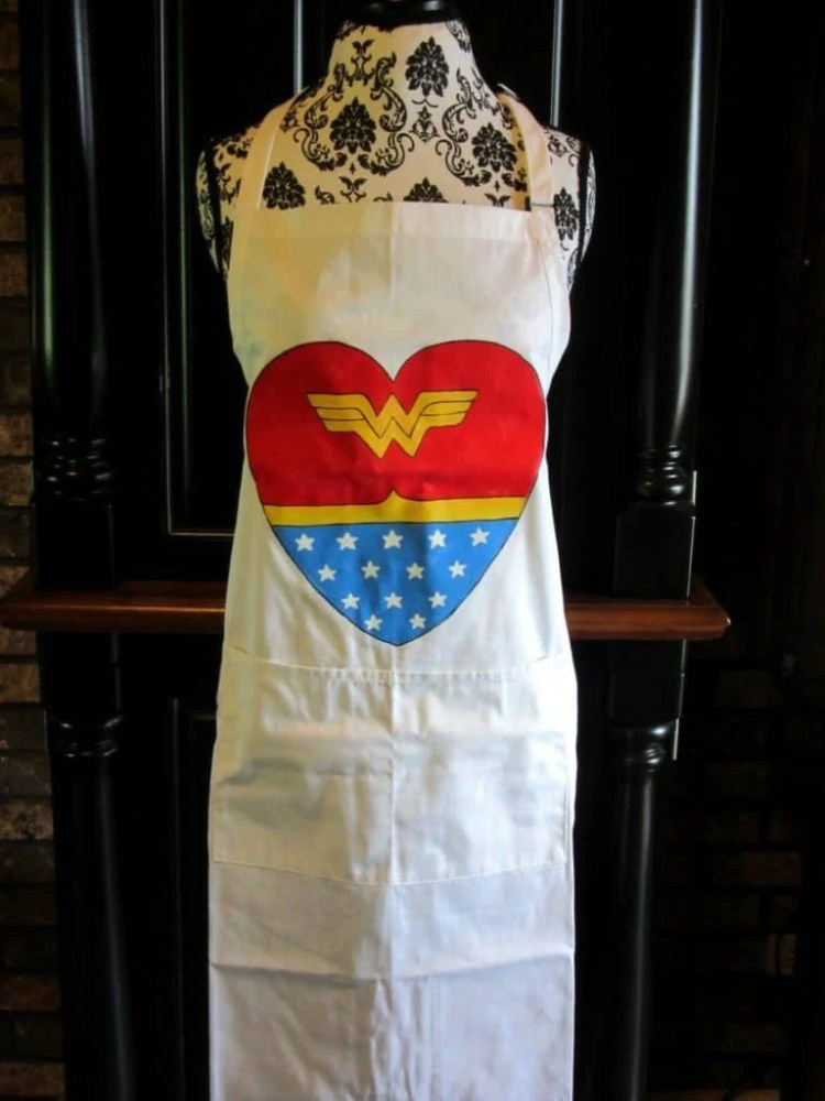 Wonder Woman Heart Hand Painted Apron