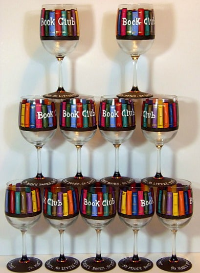 Hand Painted Book Lovers Wine Glasses - www.etsy.com/shop/kudoskitchenpaints