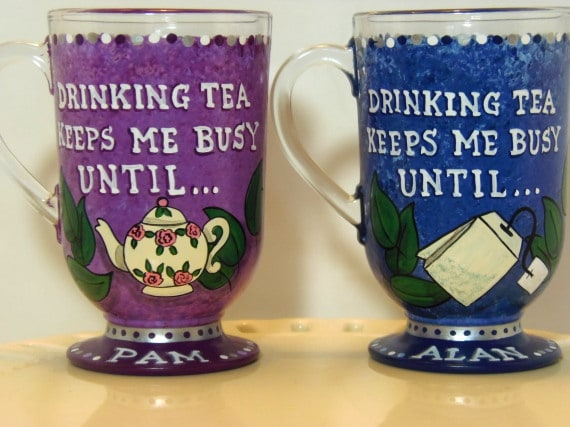 Hand Painted Glass Tea Cups