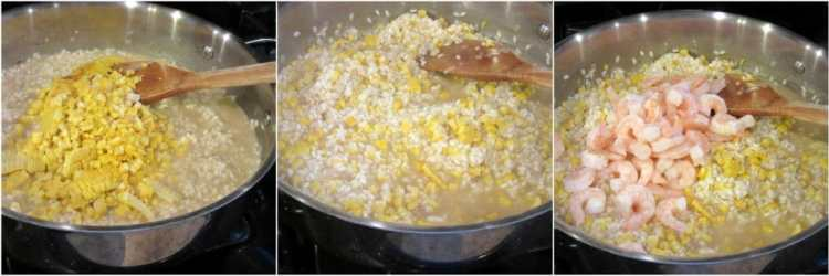 Sweet corn and shrimp risotto.