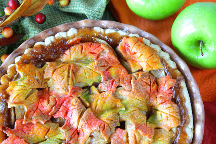 Colorful Autumn Leaves Apple Pie - kudokitchenbyrenee.com