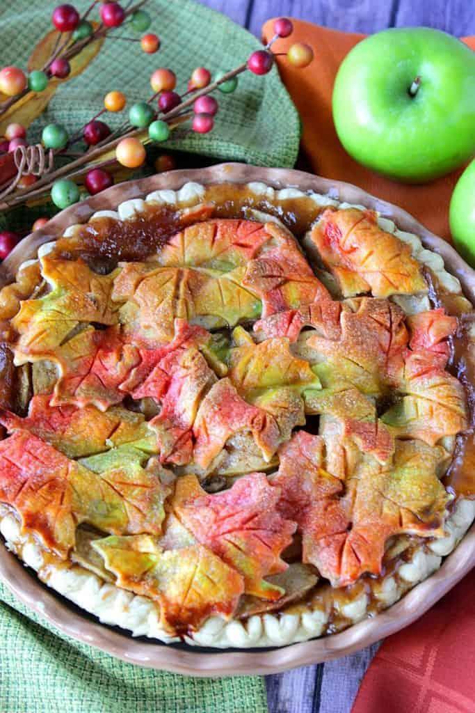 Autumn Leaves Crusted Apple Pie