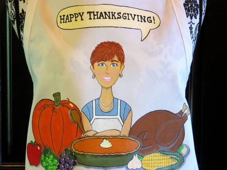 Hand Painted Thanksgiving Apron