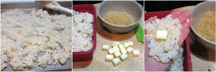 Pan Fried Mozzarella Cheese Stuffed Rice Balls with Marinara