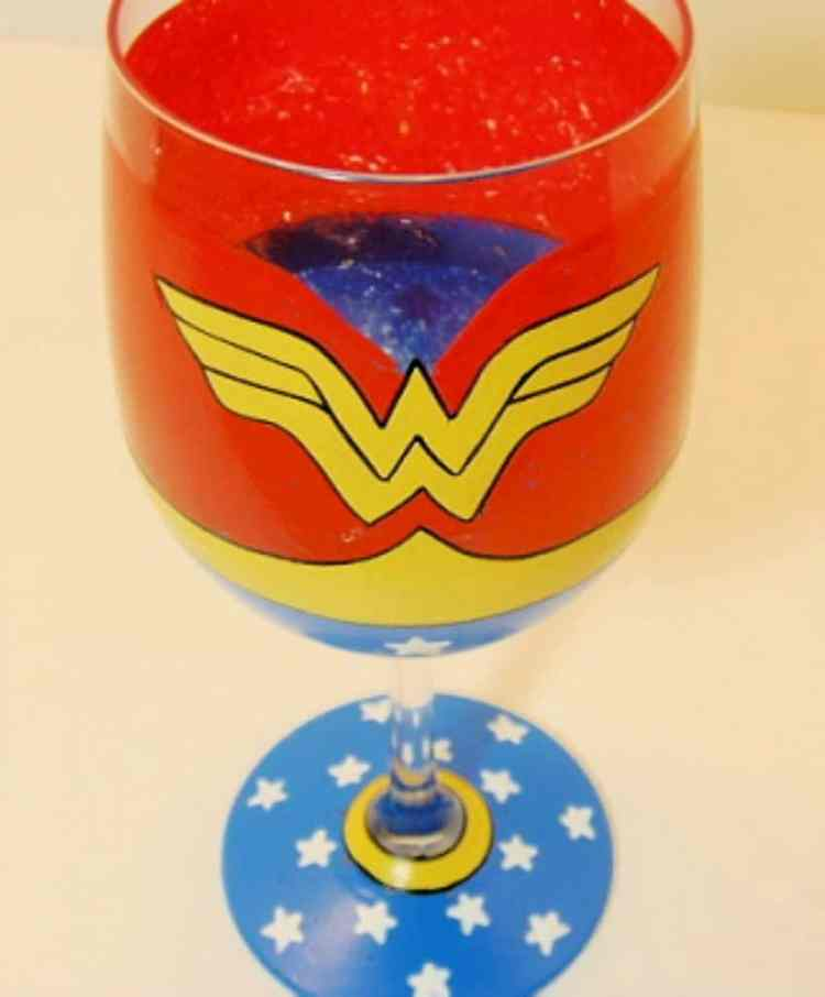 Wonder Woman Hand Painted Wine Glass