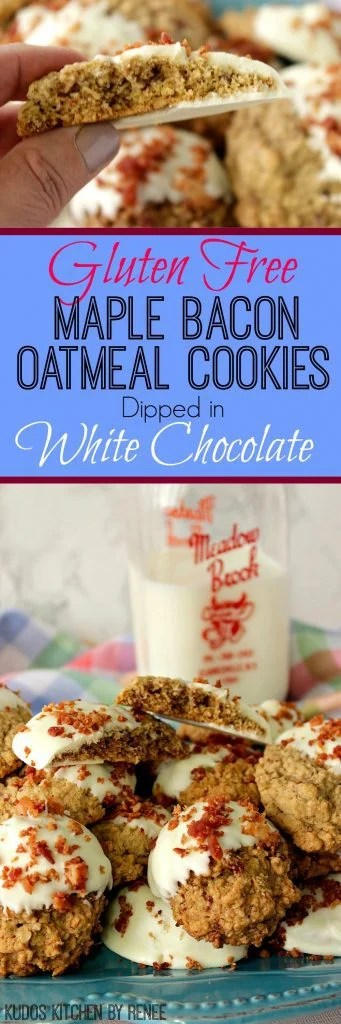 White Chocolate Dipped Maple Bacon Oatmeal Cookies