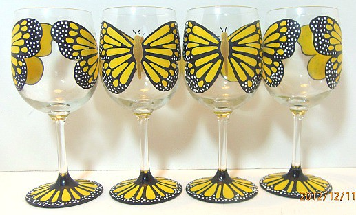 Hand painted butterfly wine glasses