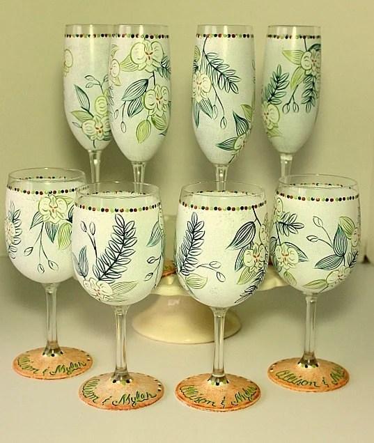 Hand Painted Destination Wedding Glassware