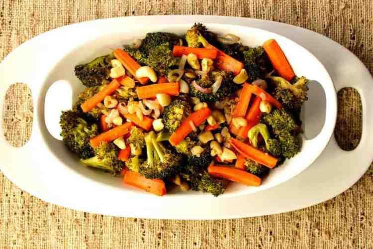 Roasted Carrots, Broccoli, Shallots and Cashews