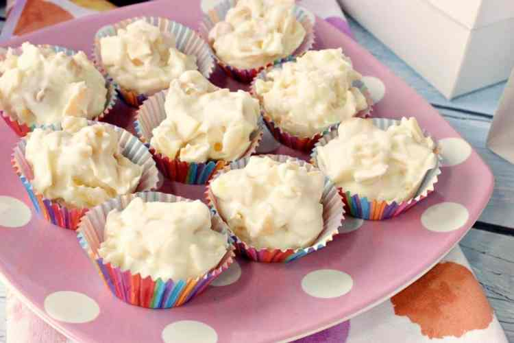 Tropical White Chocolate Candy Bites with coconut, pineapple, and macadamia nuts. - kudoskitchenbyrenee.com