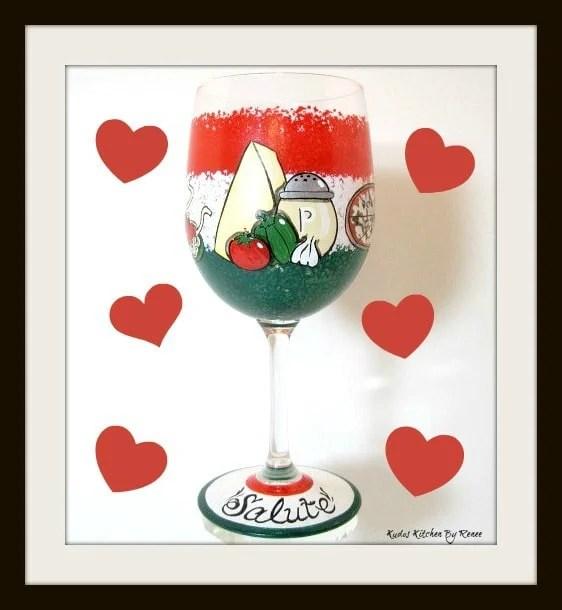 Italian Inspired Hand Painted Wine Glass