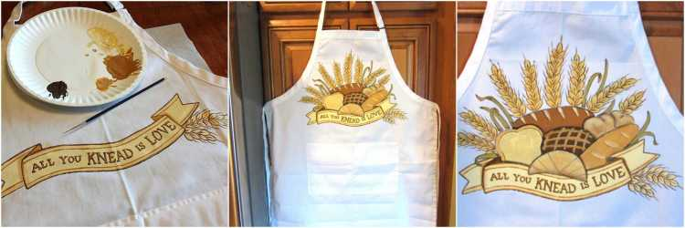 Hand Painted Bread Bakers Apron