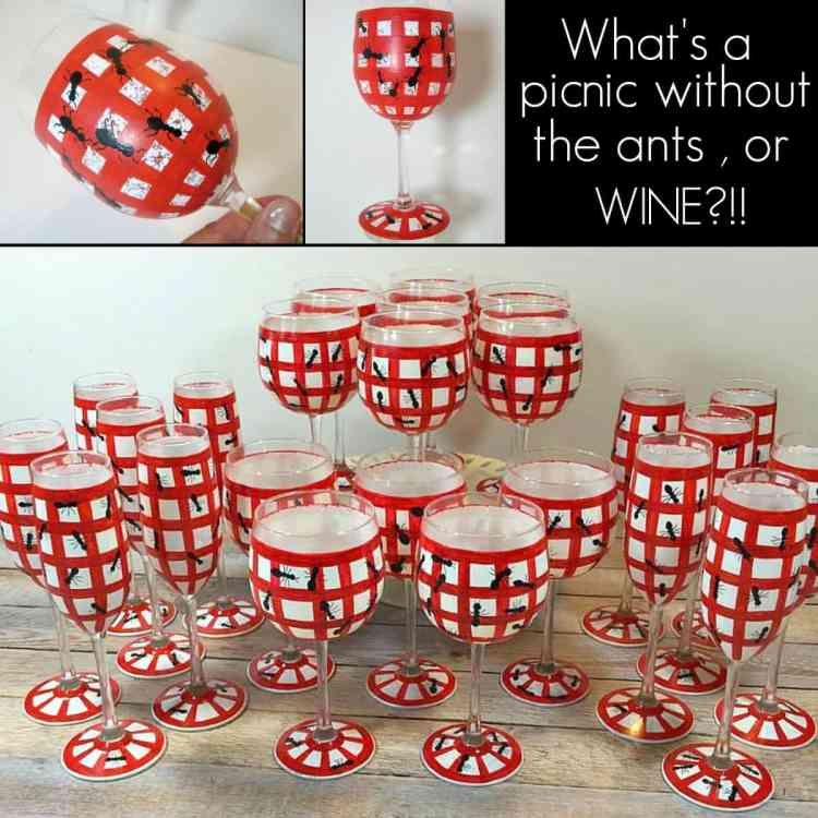 Picnic Ants Hand Painted Wine Glasses and Champagne Flutes - kudoskitchenbyrenee.com