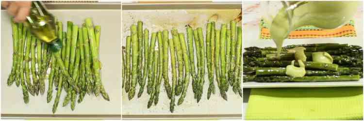 Hot to make creamy avocado hollandaise sauce over roasted asparagus.