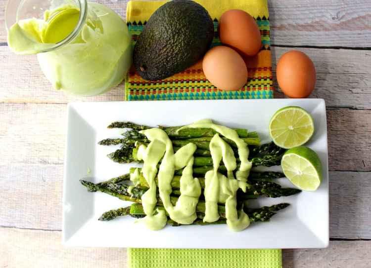Over Roasted Asparagus with Creamy Avocado Hollandaise Sauce