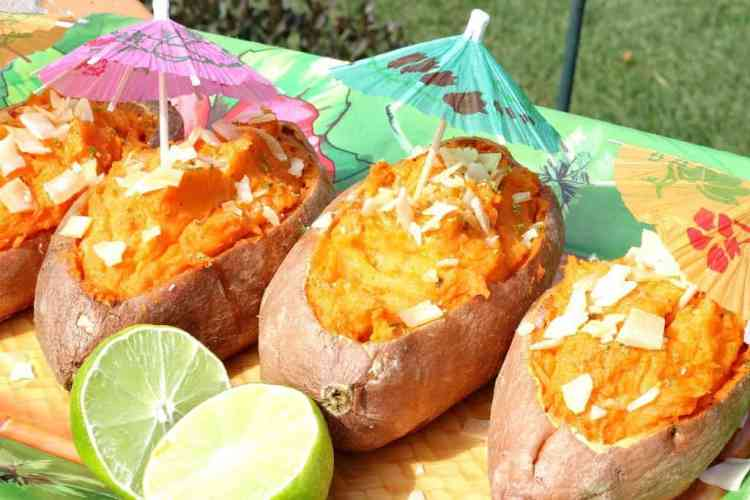 Twice Baked Sweet Potatoes with a Tropical Touch of coconut and lime
