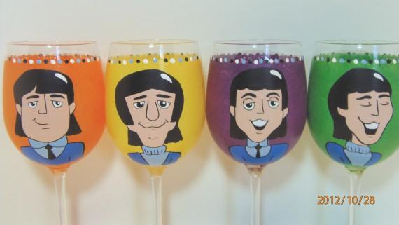 Hand Painted Retro Beatles Wine Glasses