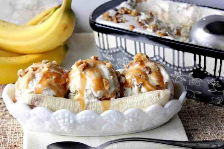 No Churn Banana Walnut Ice Cream