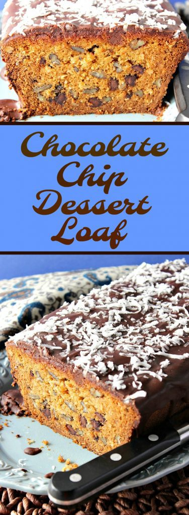 Chocolate Chip Dessert Loaf with Coconut and Pecans is rich and decadent. A small slice will go a long way in satisfying your sweet tooth...but a large slice is even better! - Kudos Kitchen by Renee