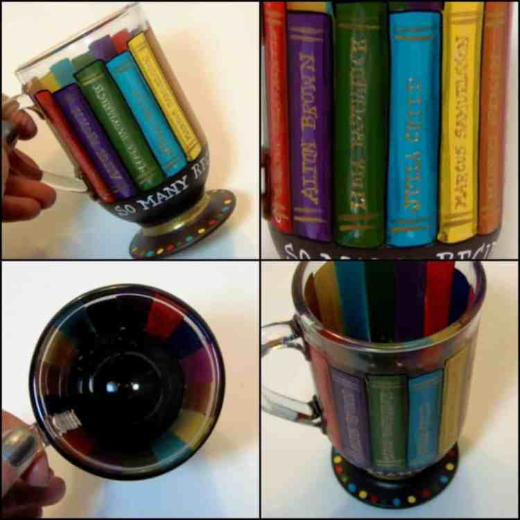 Cookbook and recipe lovers hand painted coffee mug - Kudos Kitchen by Renee