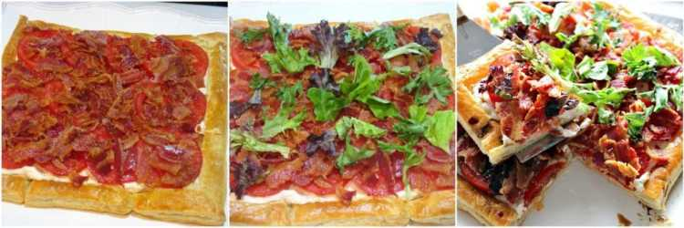 Photo Collage of how to make a BLT Puff Pastry Tart Recipe - Kudos Kitchen by Renee