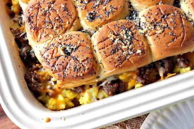Cheesy Egg & Sausage Breakfast Slider Casserole   Kudos Kitchen by Renee