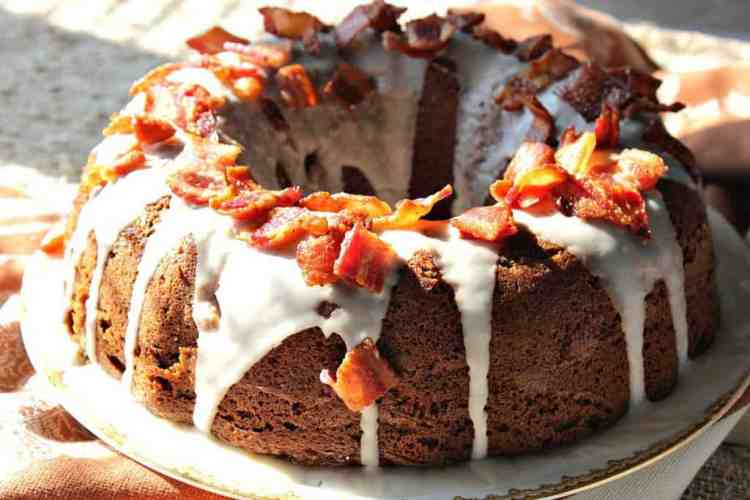 Bacon Root Beer Bundt Cake with Crisp Bacon Topping