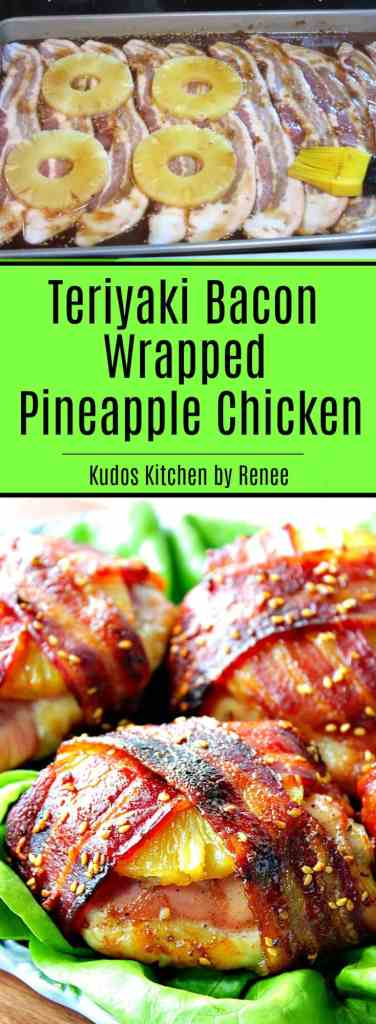 Teriyaki Bacon Wrapped Pineapple Chicken How-To Image Collage
