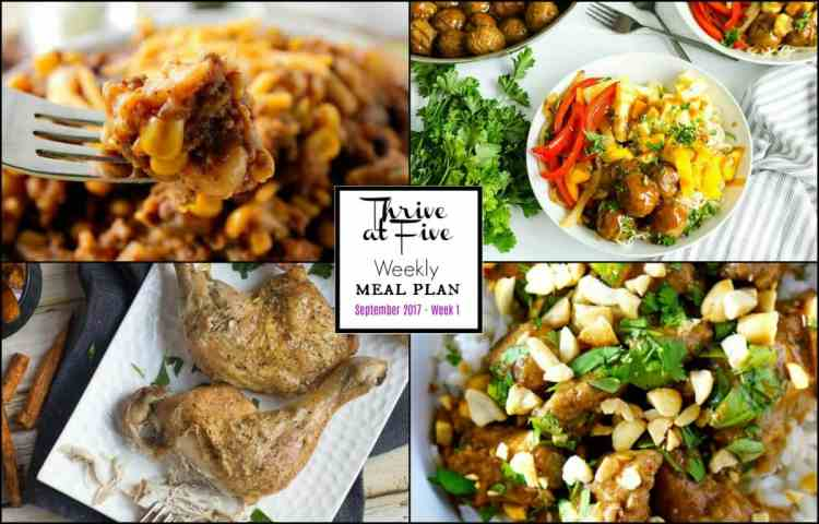 Thrive At Five Weekly Meal Planning September Week One