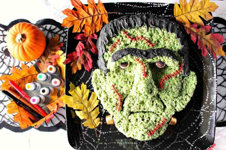 Frankenstein Rice Cereal Halloween Treat with gumball eyeballs - Kudos Kitchen by Renee
